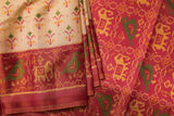 Beige and Pink Pochampalli Saree-1553