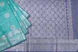 Aqua Green and Grey Soft Silk Saree- 1785