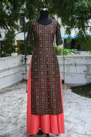 Peach and Black Anarkali