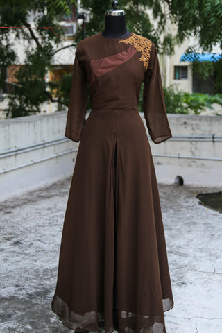 Brown Embroided Anarkali