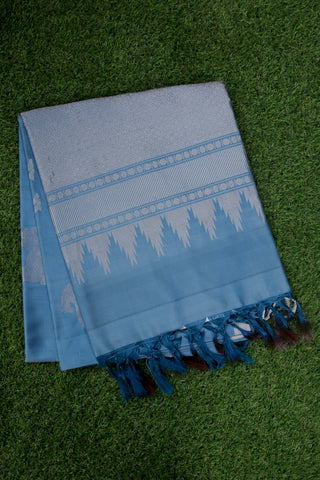 Prussian Blue Soft Silk Saree-1281