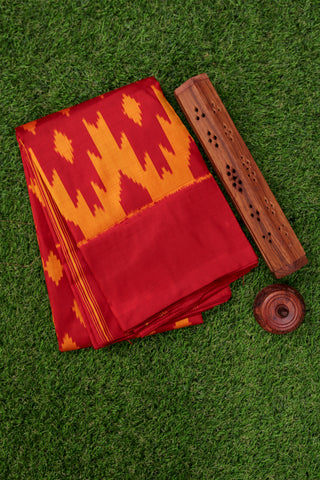 Red and Yellow Ikat Silk Saree-1841