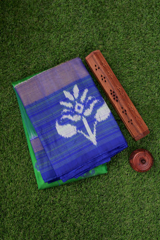 Green and Blue Ikat Silk Saree- 1849