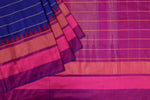 Blue and Purple Ikat Silk Saree- 1850