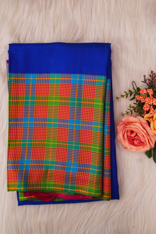 Blue and Pink Checked Soft Silk Saree-1325