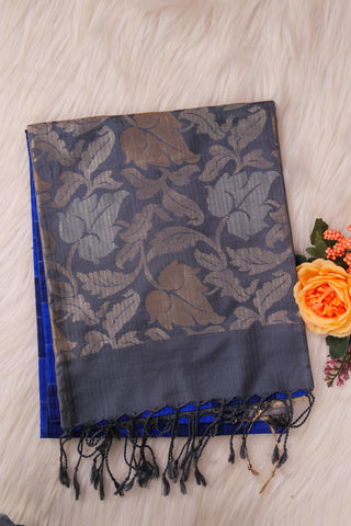 Blue and Grey Soft Silk Saree-1195