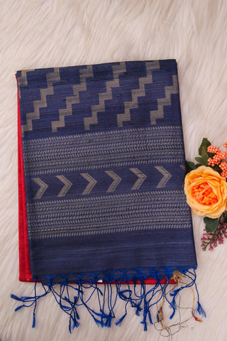 Cherry Red and Blue Soft Silk Saree-1409