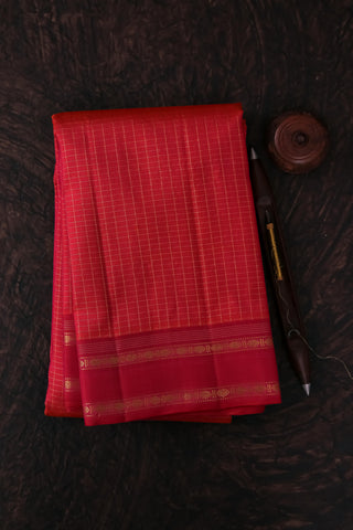 Orangish Pink Checkered Kanchipuram Saree-2159