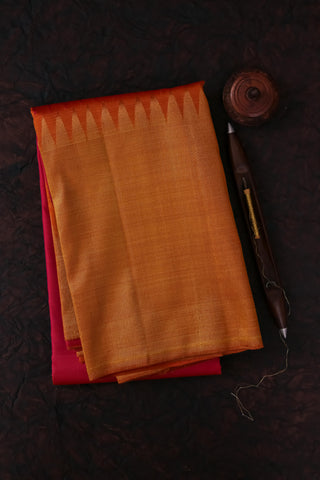 Pink and Mustard Yellow Kanchipuram Saree-2145
