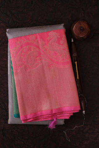 Grey and Pink Kanchipuram Saree-2131