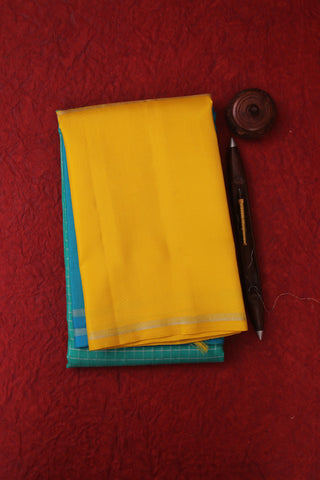Teal Green and Yellow Kanchipuram Saree-2166