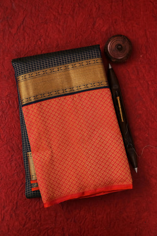 Navy Blue and Pinkish Orange Kanchipuram Saree-2167