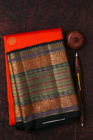 Orange and Black Kanchipuram Saree-2130