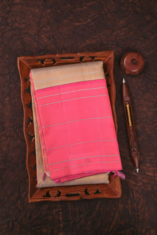 Beige and Pink Checked Kanchipuram Saree-2030
