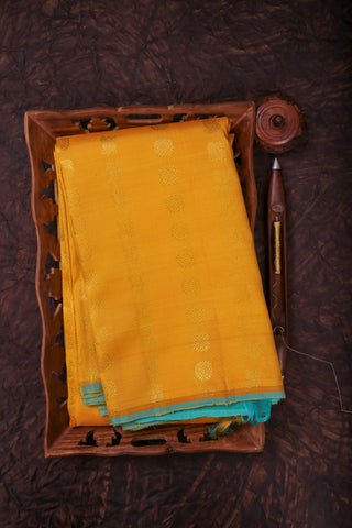 Yellow and Teal Kanchipuram Saree-2039