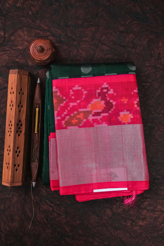 Green and Pink Cotton Kanchipuram Saree-1726
