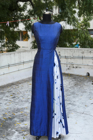 Blue tie and dye anarkali