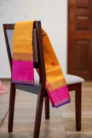 Orange Yellow Cotton Saree- 1722