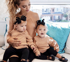 Off Shoulder Long Sleeve Knit Matching Mommy & Me Sweater