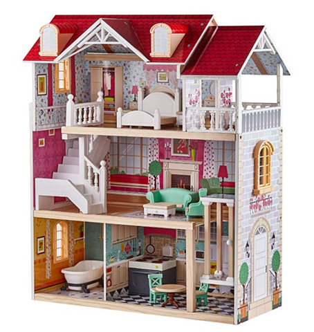Top Bright Wooden Dollhouse