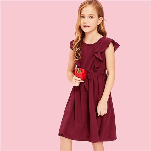 Leann Ruffle Belted Dress