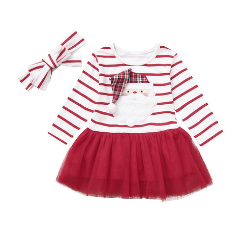 Baby Girl Christmas Dress Santa Striped Dress Beautiful Blessing Boutique