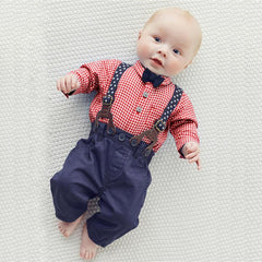 Baby Boy Bowtie Plaid Outfit with Suspenders