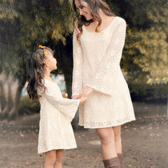Long Sleeve Lace Matching Mommy & Me Dress