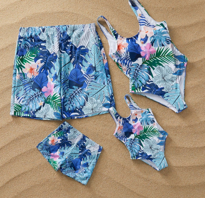 Blue Tropical Matching Bathing Suits