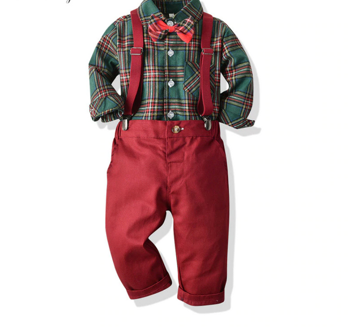 Baby Boy Christmas Plaid Shirt and Overalls Outfit
