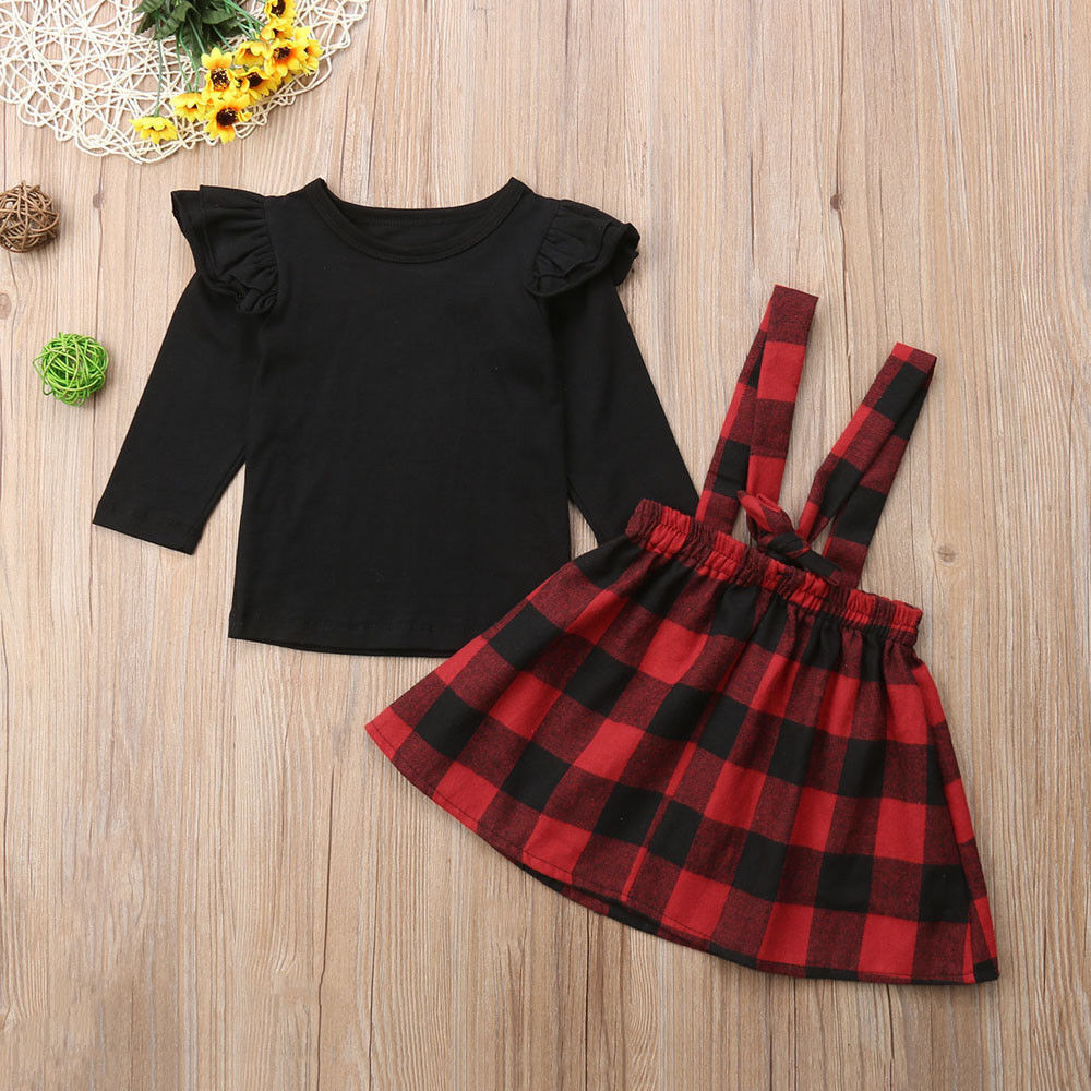 Classic Plaid Overall Dress Set