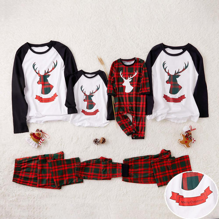 Plaid Reindeer Sibling Matching Pajamas