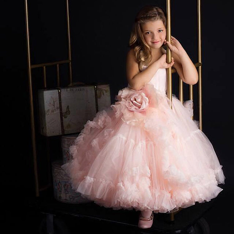 Pink Princess Ball Gown Flower Girl Dress