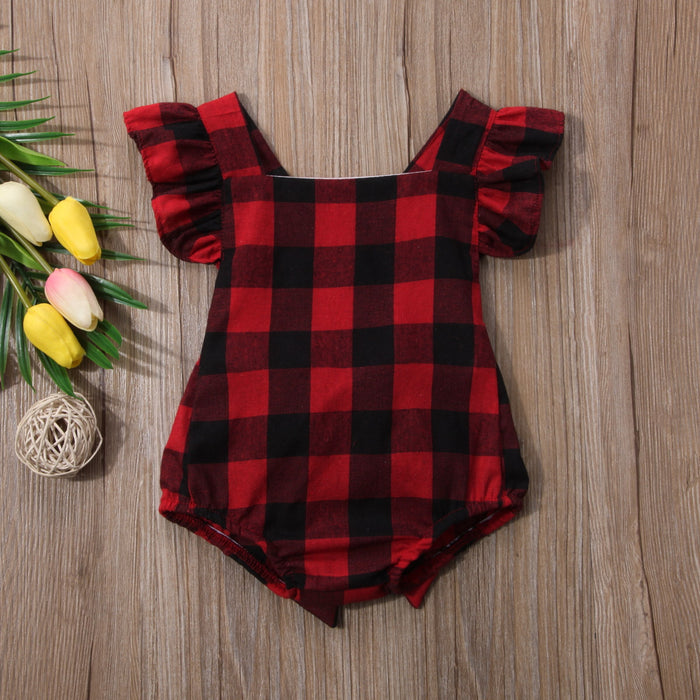 Flare Short Sleeve Plaid Romper