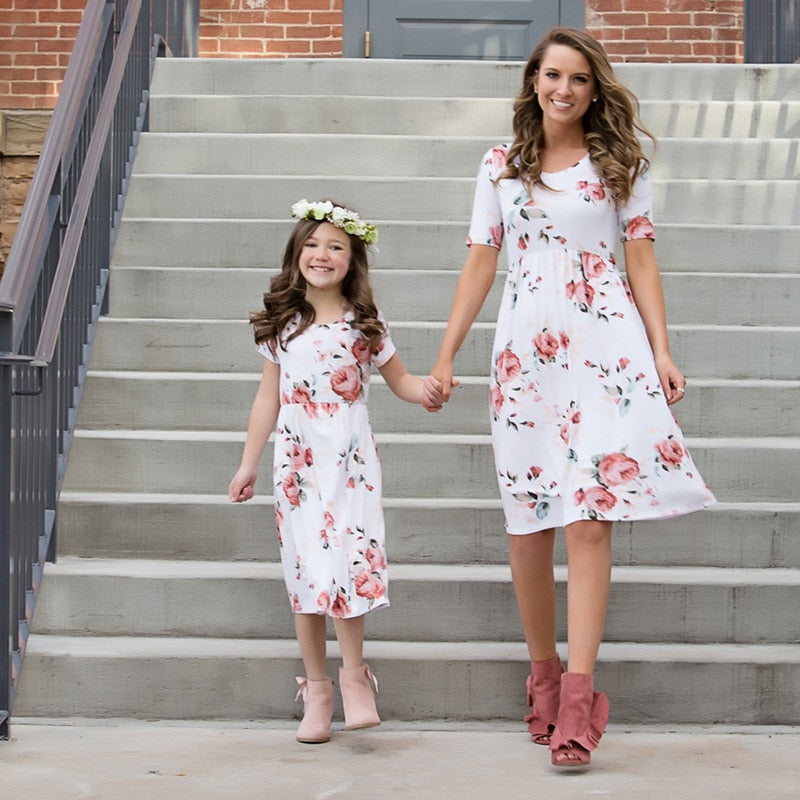 Matching White Floral Midi Dress