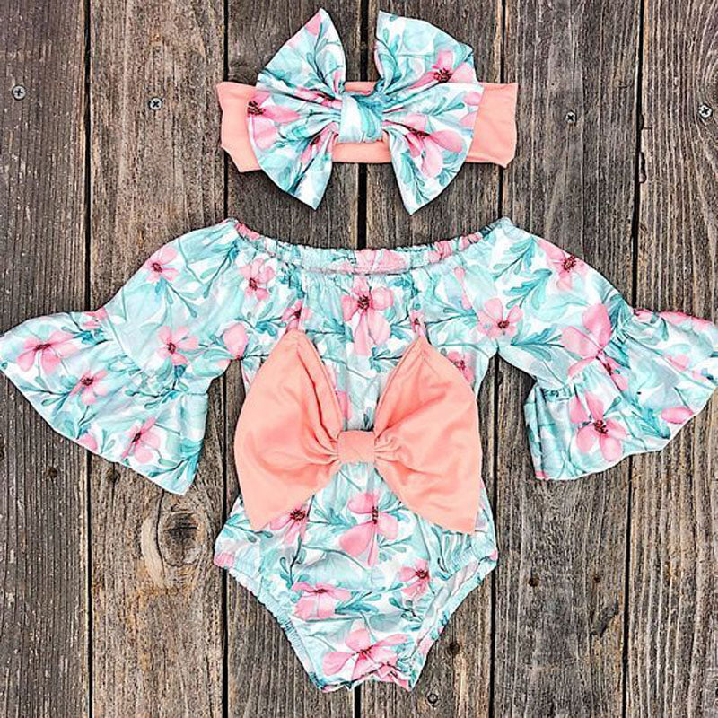 Bowknot Floral Bodysuit with Headband