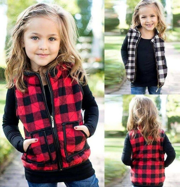Plaid Zipper Vest