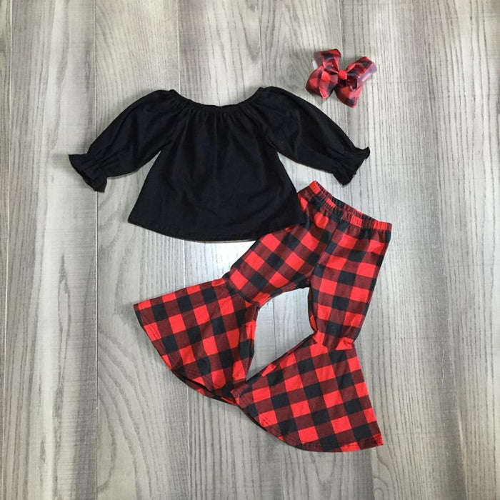 Plaid Bell Bottom Outfit