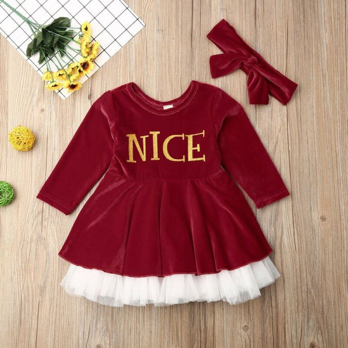 Nice Christmas Tutu Dress With Headband