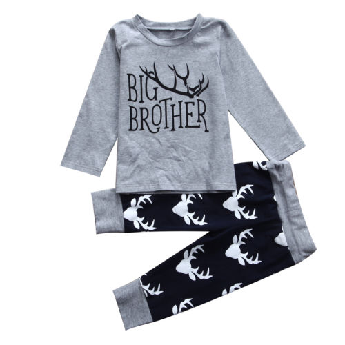 Little Brother Big Brother Matching Deer Outfits
