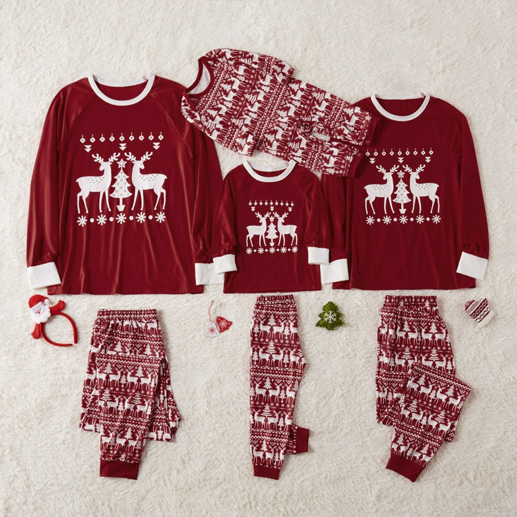 Red Reindeer Family Matching Christmas Pajamas