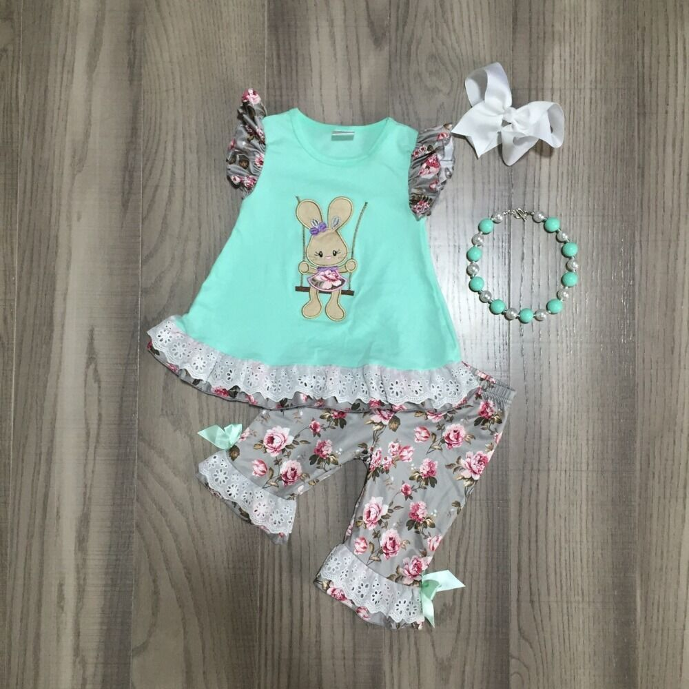Floral Print Easter Bunny Outfit