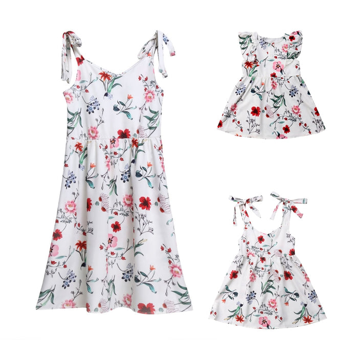 Summer Mother and Daughter Matching Floral  Dresses