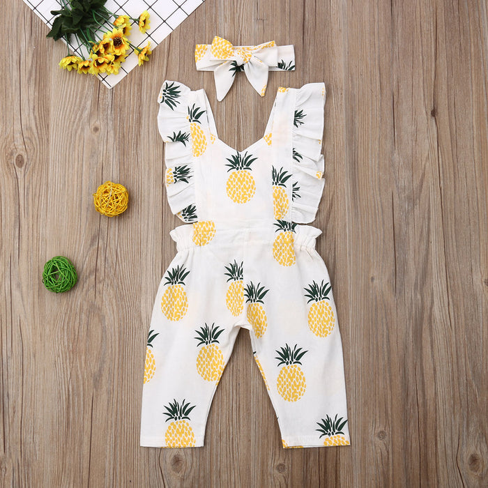 Ruffle Pineapple Jumpsuit With Headband