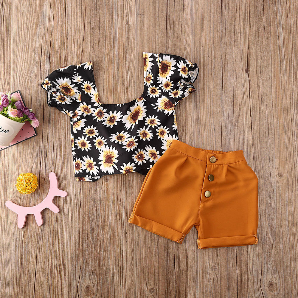 Daisy Floral Off Shoulder Crop Top and Shorts Outfit