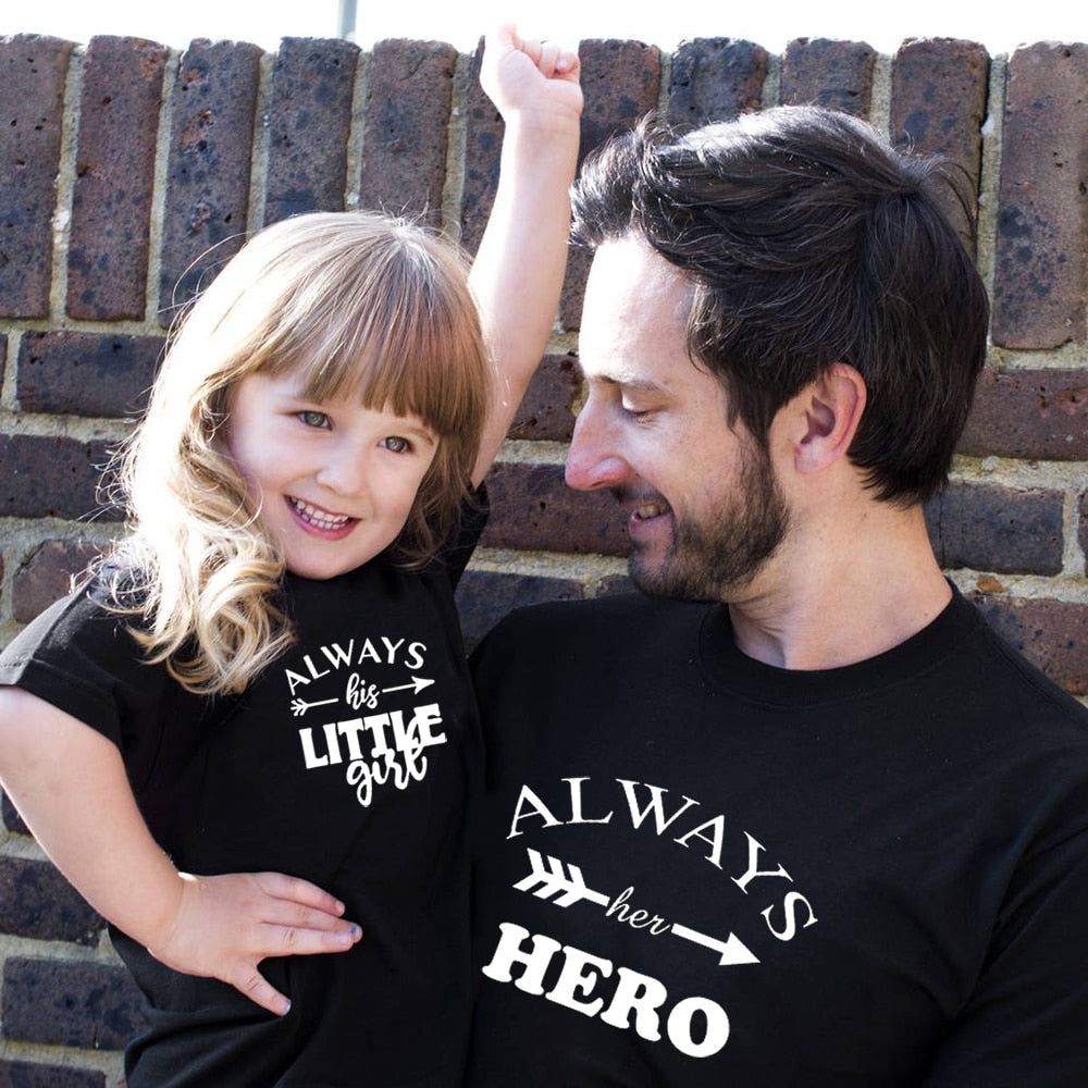 Always Her Hero and Always His Little Girl Matching Daddy and Daughter Shirts
