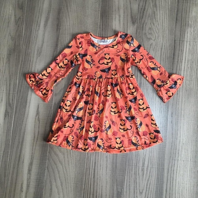 Black Cat Pumpkin Halloween Dress