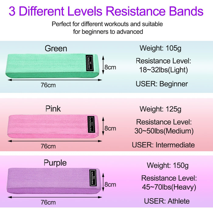 Resistance Bands Fitness Booty Bands 3-Piece Set