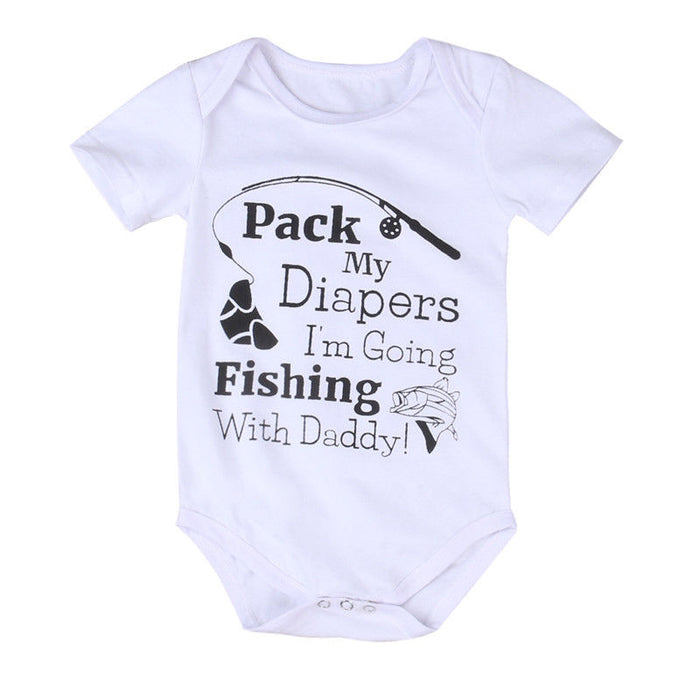 """Pack My Diapers I'm Going Fishing With Daddy"" Onesie - Beautiful Blessing Boutique Clothing Shop"