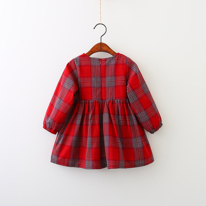 Red Plaid Fur Pom Pom Dress